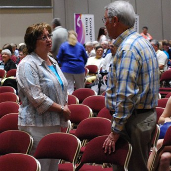 People gather before the 2013 laity session