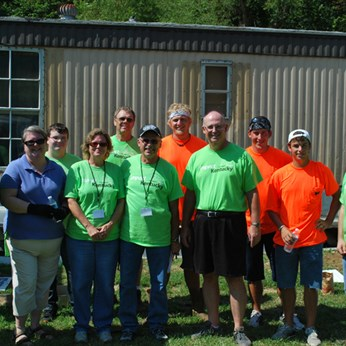 Volunteers at a work site in Wolfe County