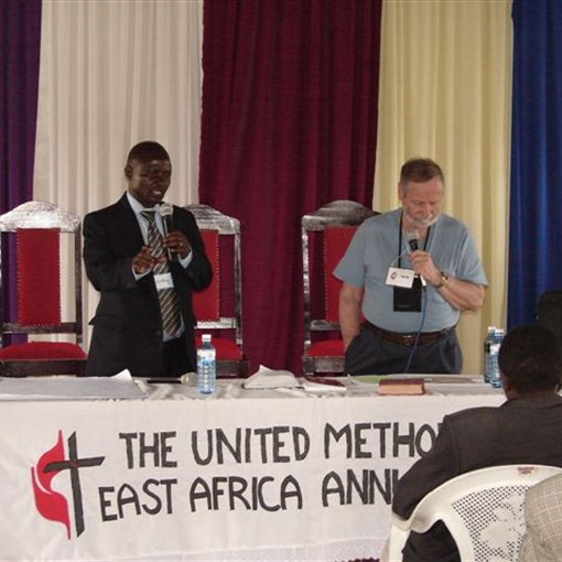 Rev. Ron Gaddie, along with translator Anthony, at Naivasha pastor training.