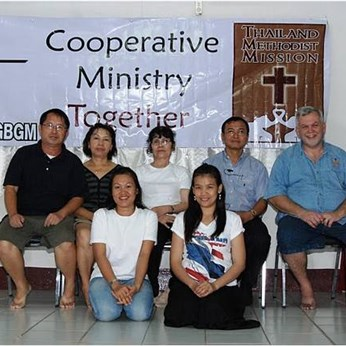 Back Row: GBGM Country Director Rev. Cherlue Vang, GBGM Missionary Mang Vang, Rev. Brayoon (church planting Rev. Banya of Life Center UMC in Pattaya, Rev. Mike Morrissey of TMM; Front Row: Luck and Donyong