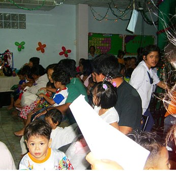 The Christmas Family Outreach is always a huge event at Blessing Home with a crowd that overflows