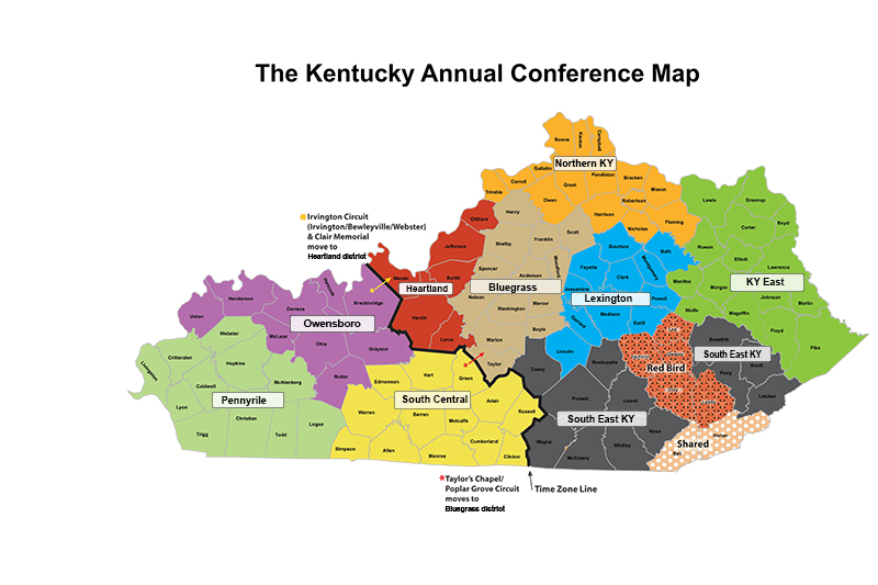 Kentucky Conference KY Conference Map By Districts - Ky map